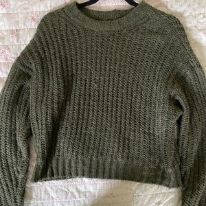 american eagle green knit sweater